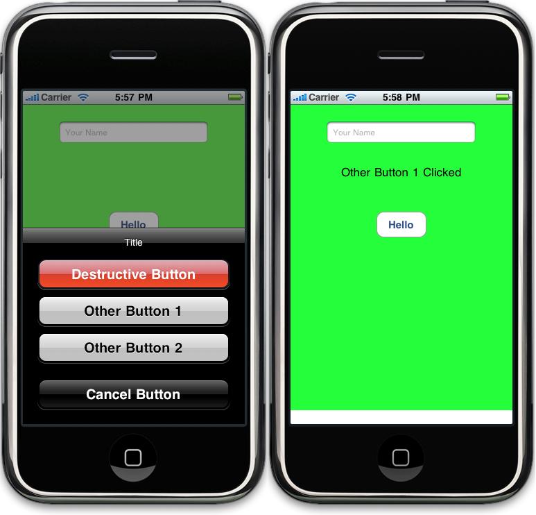 iPhone - UIActionSheet Example