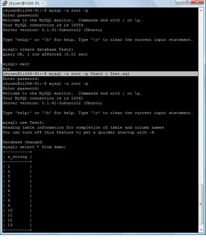 MySQL – Import and Export Database with mysqldump | Eureka!
