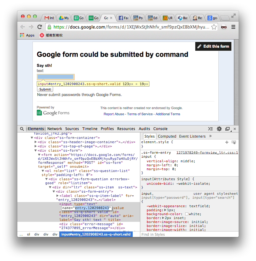 Submit Google Forms by curl command | Eureka!